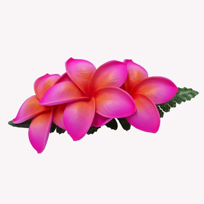 Barrette Pince Cheveux Fleurs de Frangipanier Rose