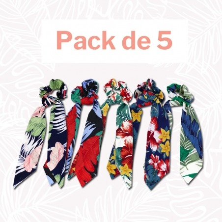 Pack 5 Chouchou Foulard Collection Mahana