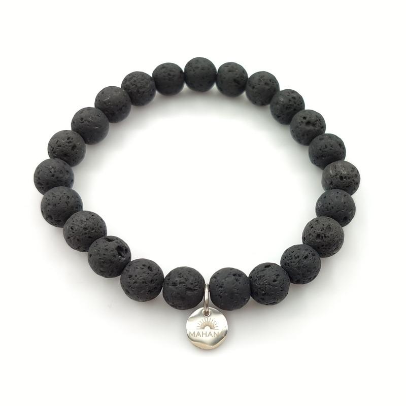 Bracelet Pierre de Lave Noire 8mm