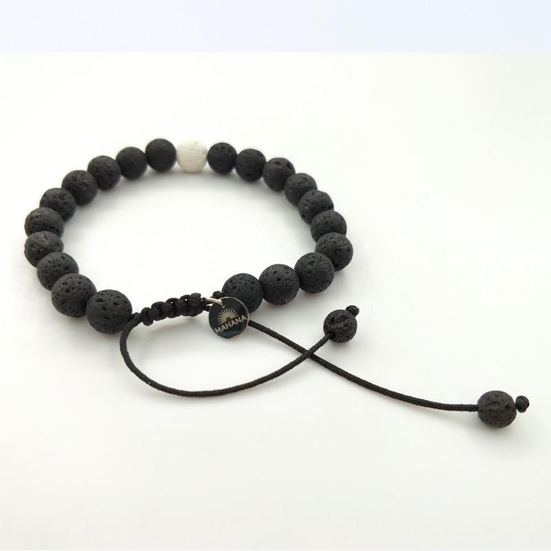 bracelet de distance Yin et Yang Pierre de lave