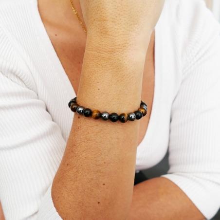 Bracelet de Protection - hématite, oeil de tigre et obsidienne