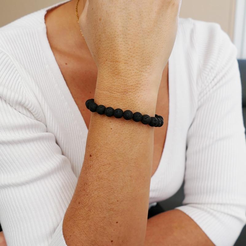 Bracelet Pierre de Lave Noir