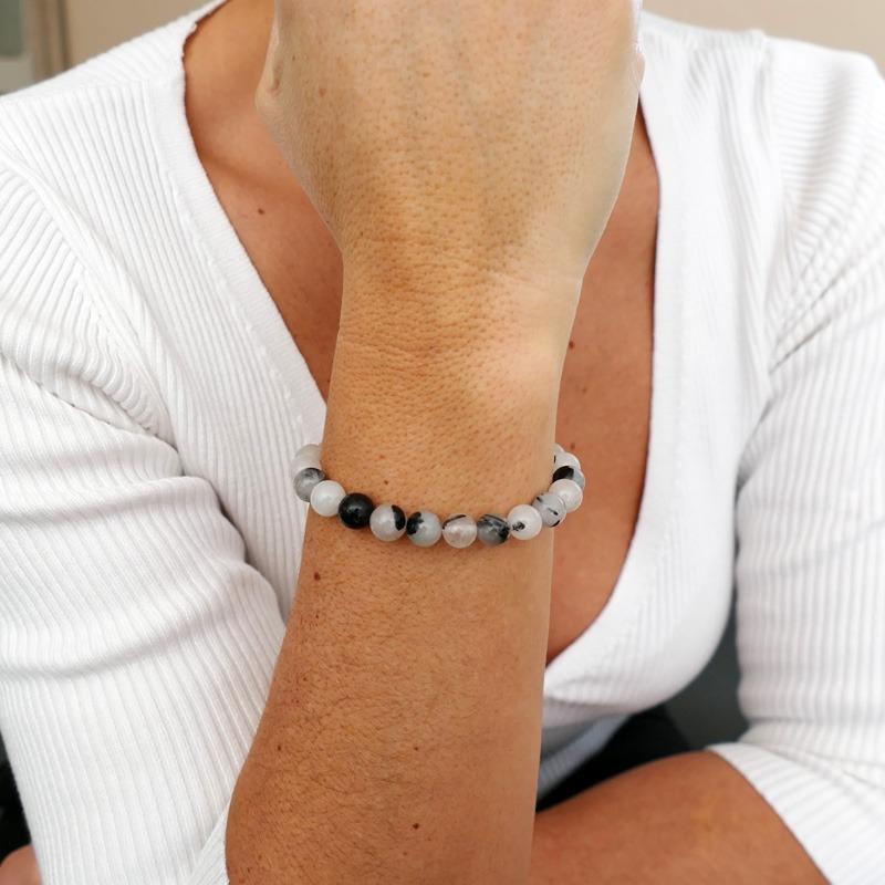 Bracelet Quartz Rutile Noir 8mm