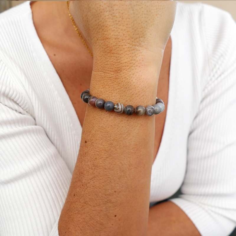 Bracelet Agate Botswana 8mm
