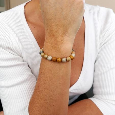 Bracelet Jaspe Corail 8mm