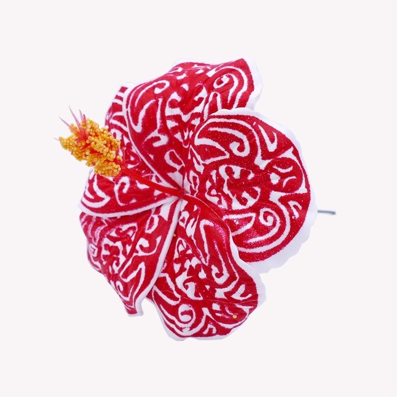 Fleur Cheveux Hibiscus Rouge Tribal