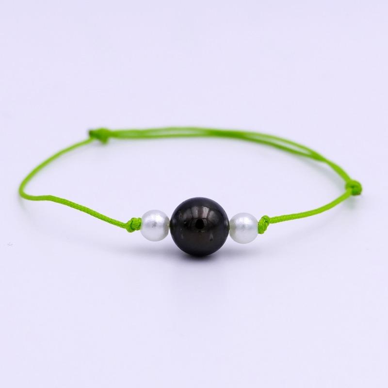Bracelet Perle de Tahiti vert