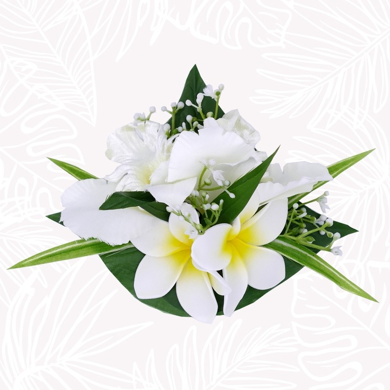 White Orchid Flowers Hair Clip