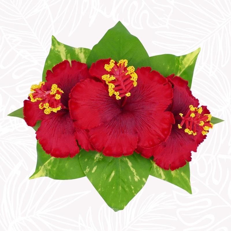 Barrette Pince Cheveux Fleurs Hibiscus Rouge