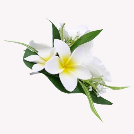 Barrette Pince Cheveux Fleurs Orchidées Blanches
