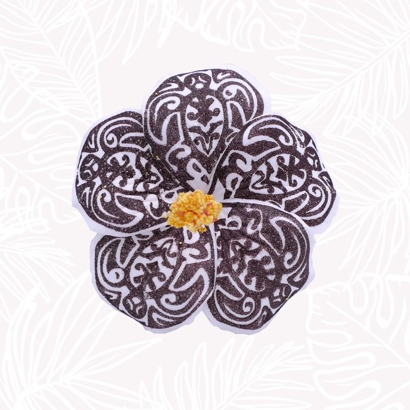 Fleur Cheveux Hibiscus Blanche Tribal