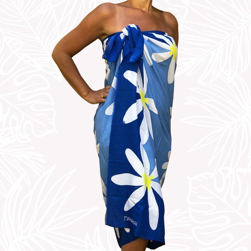 Pareo Bleu Fleur de Tiare Mahana